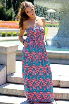 Diamonds In The Dust Jade & Coral Strapless Maxi Dress