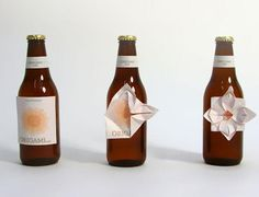 "origami beer label - ""people, in nervous situations, scratch off the label of their beer bottle. Origami label is about making something constructive out of this""- Designer, Clara Lindsten Clever Packaging, Food Packaging Design, Bottle Packaging, Bottle Labels, Brand Packaging, Product Packaging, Beer Labels, Packaging Ideas, Beer Bottles"