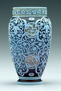 """PpTricolor Webb cameo vase, lavender, olive and white glass, Arabesque style floral and scroll decoration, marked on base """"Thomas Webb & Sons"""". Mosaic Glass, Stained Glass, Glass Art, Art Nouveau, Crystal Glassware, Art Corner, Fenton Glass, Art Object, Vases Decor"""