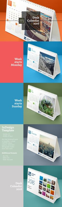 Explore more than ready to use stationery templates including branding kits, media kits, and calendar templates for use at home and at work. Calendar 2019 Design, 2016 Calendar, Stationery Templates, Indesign Templates, Media Kit, Desk Calendars, Corporate Design, Scrapbooks, Design Ideas