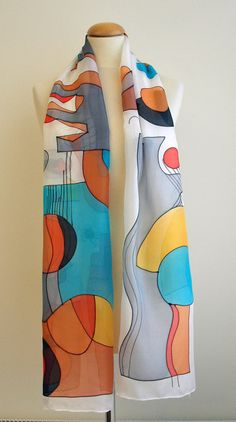 Dress Painting, Fabric Painting, Hand Painted Dress, Painted Silk, Fabric Paint Designs, Sonia Delaunay, Silk Art, Silk Shawl, Scarf Design