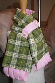 Green/Pink Plaid Scarf. Stay put button strip.