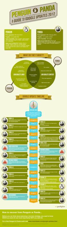 A Guide to Panda and Penguin Updates Infographic Online Marketing, Digital Marketing, Marketing Ideas, Media Marketing, Google Penguin, Seo News, Google Search Results, Social Media Trends, Reputation Management
