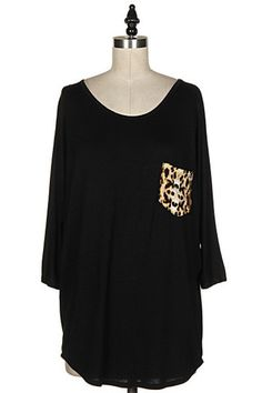 Black Tunic Top with Leopard Pocket – Texas Two Boutique