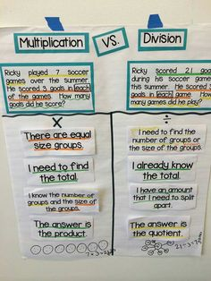 × vs ÷ word problems anchor chart (image only) Math Charts, Math Anchor Charts, Multiplication Anchor Charts, Teaching Multiplication, Multiplication Strategies, Math Math, Math Games, Teaching Math, Maths