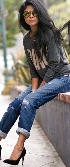 Graphic Sweater Top, Boyfriend Jeans, Heels, Sunglasses, Long Hair