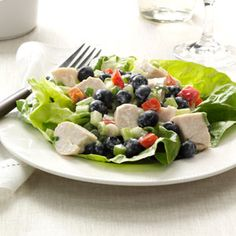 Simple & Delicious (June 2013): Blueberry Chicken Salad - This excellent combination goes together quickly in the morning to take for lunch or makes a nice light salad for a summer supper