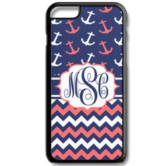 Navy Coral Chevron Anchor Monogram Iphone 6/6s Case Plus 5c 5/5s 4/4s Personalized Custom Cover Lattice