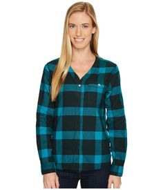 Isabel Long Sleeve Shirt In Blue Spruce Blue Spruce, Mountain Hardwear, Workout Shirts, Flannel, Long Sleeve Shirts, Plaid, Mall, Cotton, Link