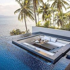 pool overlooking on the sea in our private island on the second floor