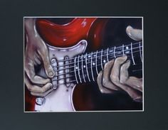 Red Guitar And The Hands That Play It Art Print of by sherryarthur