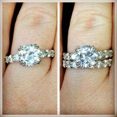 Sparkling Brilliant Cut CZ Sterling Silver Engagement Set, $64