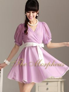 Morpheus Boutique  - Purple 3/4 Sleeve  v neck Hemline Pleated Dress With Belt