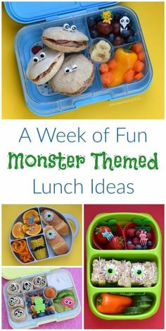A week of quick and easy monster themed healthy packed lunch ideas for kids fom Eats Amazing UK - totally doable and lots of fun!