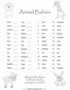 Match The Mom With Baby Animals Number