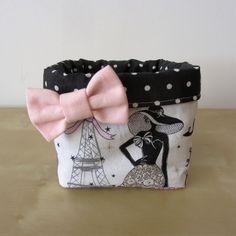 """Réservé: vide-poche rétro chic """"la parisienne"""" en tissu noir à pois blancs : Meubles et rangements par nymeria-creation"""
