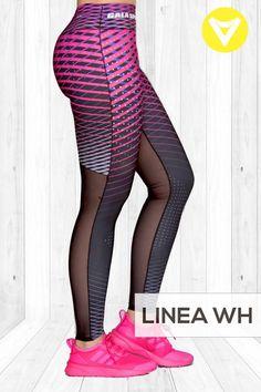 Leggin textil colombiano en combinacion con mesh reforzada, costuras planas.