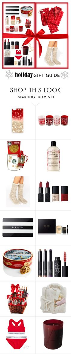 """""""Holiday Gift Guide"""" by madinnmichelle ❤ liked on Polyvore featuring Lauren Conrad, philosophy, ASOS, NARS Cosmetics, Sephora Collection, Gucci, Mrs. Prindable's and Calvin Klein"""