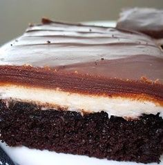 Ho Ho Cake - This super easy Cake is a great way to bring back fond childhood memories! A moist chocolate cake with a super sweet and creamy vanilla buttercream filling and a chocolate glaze! What is there not to love about this cake? It was a huge hit!