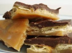 Saltine Cracker Toffee with chocolate and pecans | It really tastes like toffee! My daughter decided to cook the butter and sugar in the microwave. It worked just great and makes it easier to make when kids are involved.