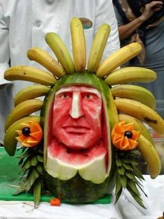 Fruit Warrior - You've heard of Fruit Ninja, now meet the Fruit Warrior. We tip our hats to this artist, because not only is it hard enough making art from fruit and vegetables, but it's also extremely challenging to create a realistic face from food! Imagine this as a fruit platter at your next event...Now that is talent! -- Food Art