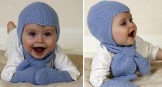 Aviator Knitted Hat, Scarf And Mittens [FREE Knitting Pattern]