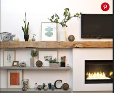 Stone Fireplace Surround, Wood Fireplace Mantel, Fireplace Shelves, Living Room With Fireplace, Mantel Shelf, Fireplace Ideas, Floating Fireplace, Wall Shelves, Open Fireplace