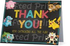Folded Pokemon Thank You Card 1 Birthday Thank You Cards, Printable Thank You Cards, Themes Free, Customer Service, Birthday Invitations, Pokemon, Digital, Prints, Fun