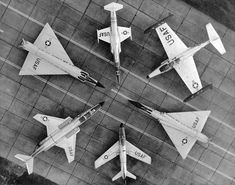From the top, clockwise: Lockheed F-104 Starfighter Northrop F-89 Scorpion Convair F-106 Delta Dart North American F-86D Sabre McDonnell F-101 Voodoo Convair F-102 Delta Dagger