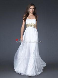 White Chiffon Strapless Neckline Sleeveless Sequined Empire Waist Floor-Length Prom Dress