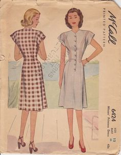McCall's 6424 Size 12 1946 day dress by pcraine on Etsy, $9.99