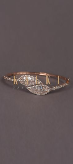 Rose Gold Plated Bracelet With Stones And Bugle Beads In Leaf Motif Online - Kalki Fashion