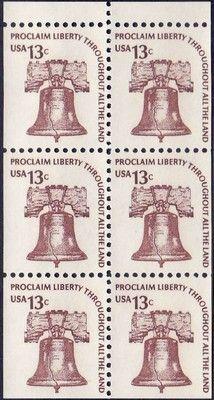 1975 13c Liberty Bell, Booklet Pane of 6 Scott 1595a Mint F/VF NH