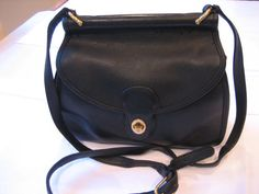 Rare HTF Vintage Coach Black Leather Cross Body by CLASSYBAG