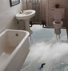 This is the floating floor-less bathroom illusion. Ahhh yes, feel like you're just floating in the clouds... while you're pinching one off.