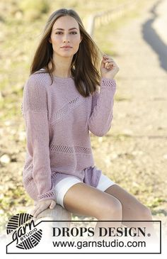 Afternoon Stroll jumper with short rows and lace pattern by DROPS Design. Free Knitting Pattern