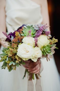 Wedding Bouquet minus the majority of white followers | http://www.stylemepretty.com/gallery/picture/1278211/ | Photography: Shannon Grant Photography