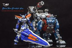 MG 1/100 Gundam Astray Blue Frame 2nd Revise + 1/72 Zoids HMM EZ-016 Shubaltz Saber Tiger - Painted Build