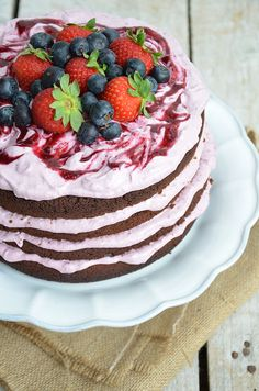chocolate cake with berry cheesecake filling