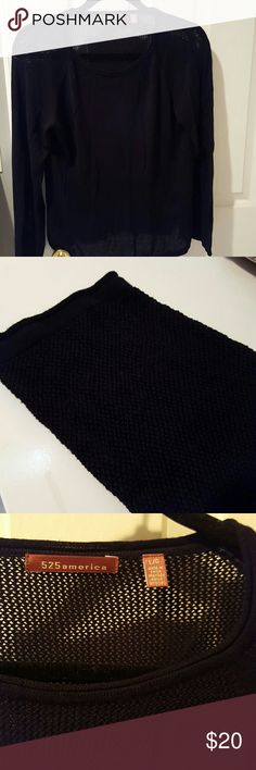 Black Sweater 100% rayon sweater with mesh woven detail around neck/shoulders, sleeve bottoms, and waist 525 America Sweaters Crew & Scoop Necks
