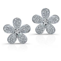 Anne Sisteron  14KT White Gold Diamond Flower Earrings ($1,075) ❤ liked on Polyvore featuring jewelry, earrings, less, studs, white, stud earrings, diamond earrings, flower stud earrings, diamond jewelry and flower jewellery