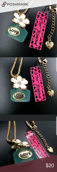 Love perfume Bottle Necklace by Betsey Johnson New with tags.... Betsey Johnson Jewelry Necklaces