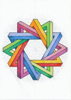 20161214 Tags: impossible isometric geometry symmetry pattern handmade pencil oscarreutersvärd escher mathart Source by Impossible Triangle, Impossible Shapes, Illusion Drawings, Illusion Art, Geometric Designs, Geometric Shapes, Sacred Geometry Art, Sacred Geometry Patterns, Graph Paper Art