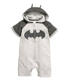 Check this out! Jumpsuit in sweatshirt fabric with a printed design at front. Lined hood with attached ears, zip at front, short raglan sleeves, and short legs. - Visit hm.com to see more.