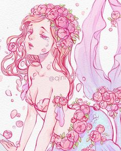 🧜♀️🌺 Rough sketch w colour testin before moving onto watercolor version. Art And Illustration, Fantasy Kunst, Fantasy Art, Pretty Art, Cute Art, Anime Kunst, Anime Art, Qinni, Character Art