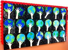 """Earth Day 2013 is Mon., April These Earth Day """"Handprint Globes"""" glued on black construction paper, along with students' creative writing assignments would make a visually stunning Earth Day bulletin board display. Earth Day Activities, Spring Activities, Art Activities, Kindness Activities, Earth Day Projects, Earth Day Crafts, Art Projects, Classroom Displays, Art Classroom"""