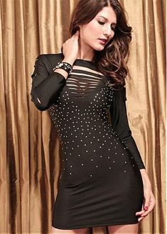 24.26USD. NOUVEAU! Elegant Polyester Black Women's Bodycon Club Dress With Dot