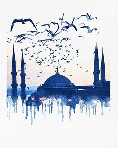 """I started going back to my first love, watercolor. """"Blue Istanbul"""" by Elisandra 2018 I started going back to my first love, watercolor. Blue Istanbul by Elisandra 2018 Watercolor Trees, Watercolor Background, Abstract Watercolor, Watercolor Illustration, Watercolor Paintings, Simple Watercolor, Tattoo Watercolor, Watercolor Animals, Watercolor Landscape"""
