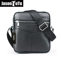 7d6c37c96b JASON TUTU 100% genuine leather man bag shoulder bags black Soft leather  small messenger bag