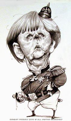 Otra desproporción grotesca de Ernesto Priego, miembro de la asociación española de caricaturistas; la caricatura hecha este mismo año en claroscuro pertenece a Merkel: -Canciller federal de Alemania. -Presidenta de turno del consejo europeo -Presidenta de CDU, etc.